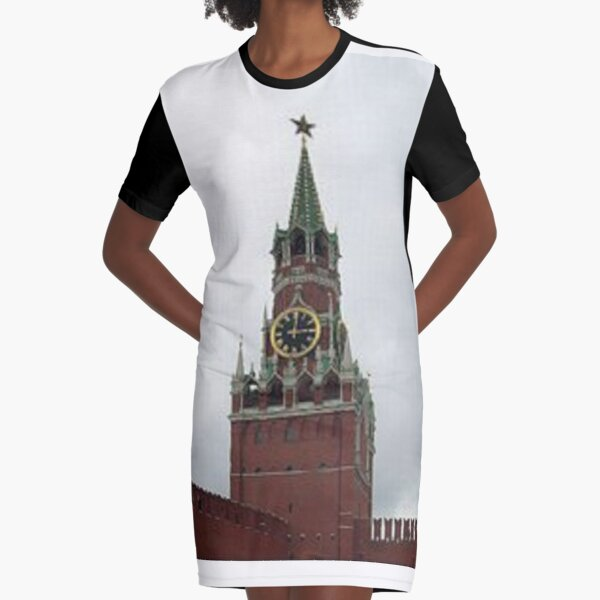 Spasskaya Tower, Moscow, weave, template, routine, stereotype, gauge, mold Graphic T-Shirt Dress