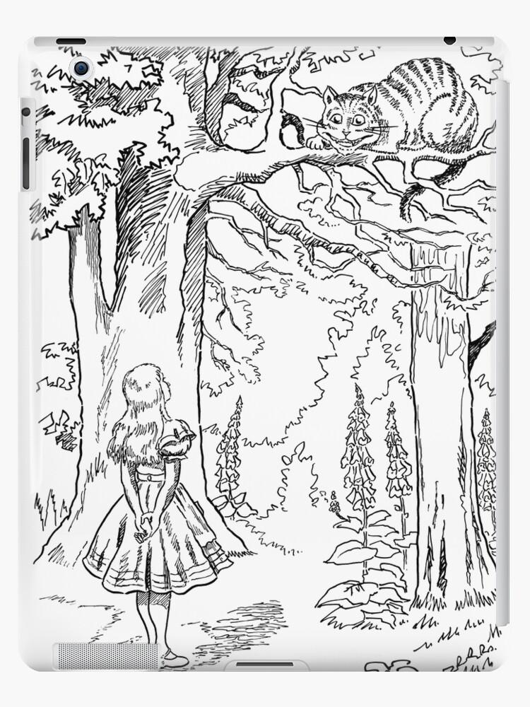 Alice In Wonderland Cheshire Cat Black White Ipad Case Skin By Matjackson Redbubble