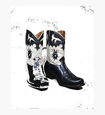 Black and White Boots Photographic Print