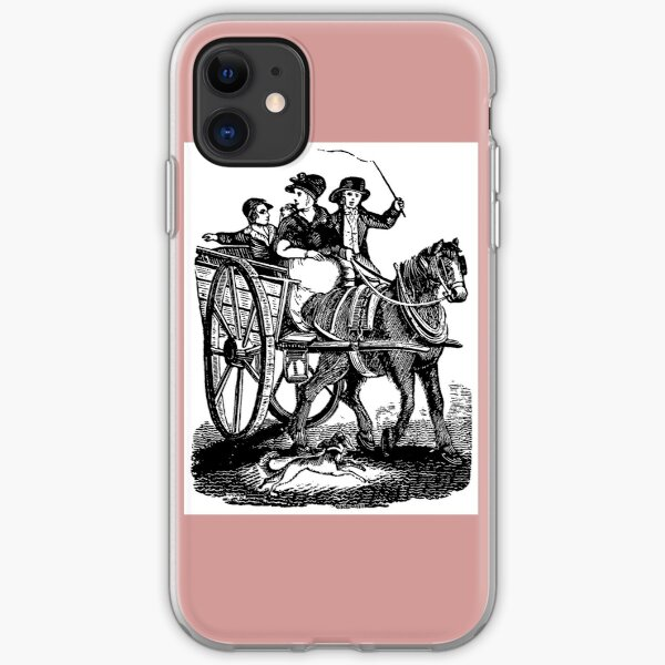 Mother with two sons in horse carriage iPhone Soft Case