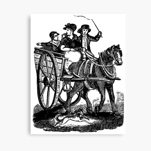 Mother with two sons in horse carriage Canvas Print