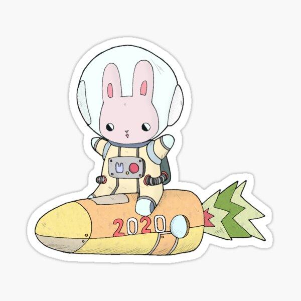 Space Bunny on Carrocket Sticker