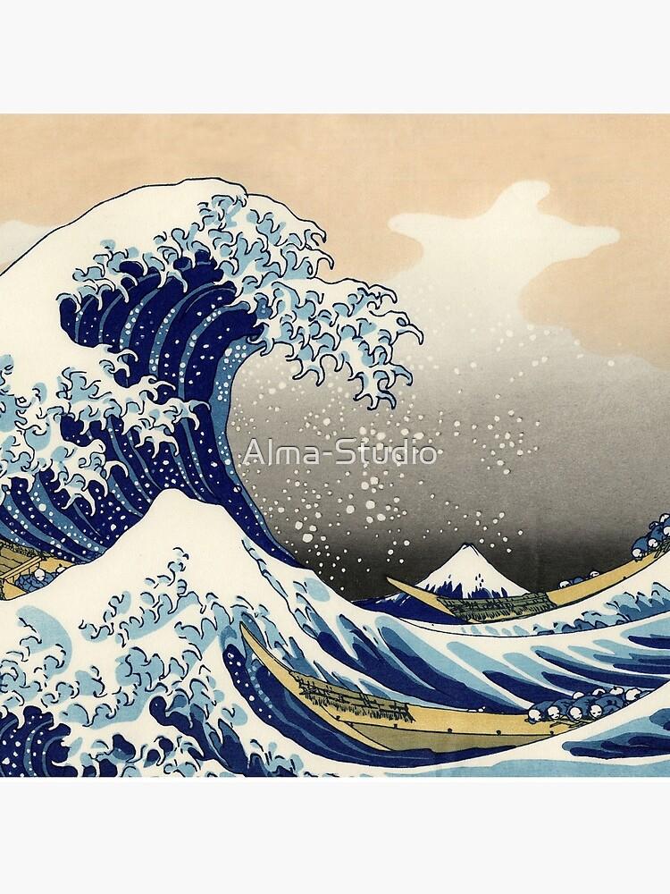 Katsushika Hokusai, The Great Wave off Kanagawa, 1831, Japanese painting by Alma-Studio