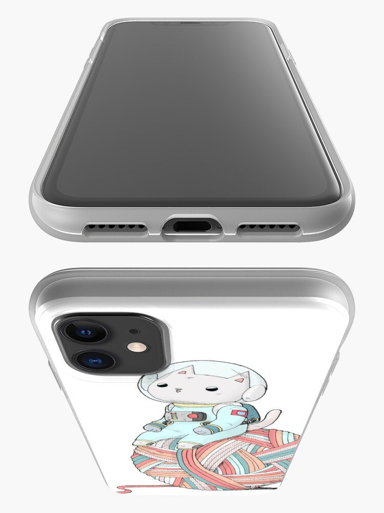Alternate view of Space Cat on Planet Yarn Ball iPhone Case & Cover