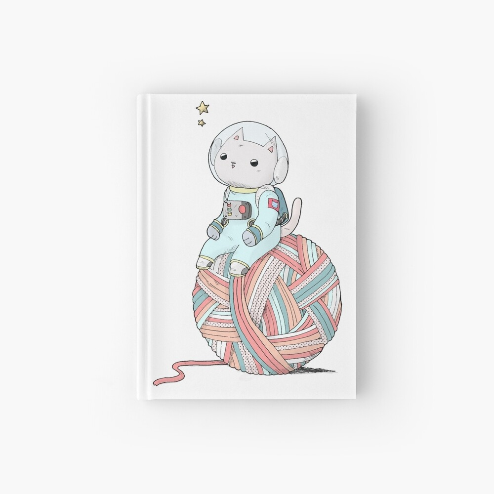Space Cat on Planet Yarn Ball Hardcover Journal