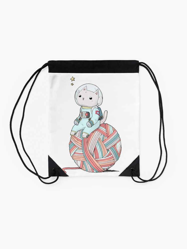 Alternate view of Space Cat on Planet Yarn Ball Drawstring Bag