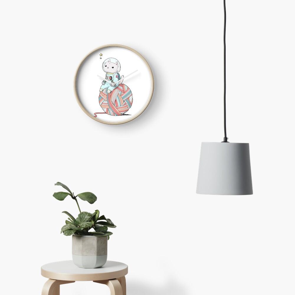 Space Cat on Planet Yarn Ball Clock