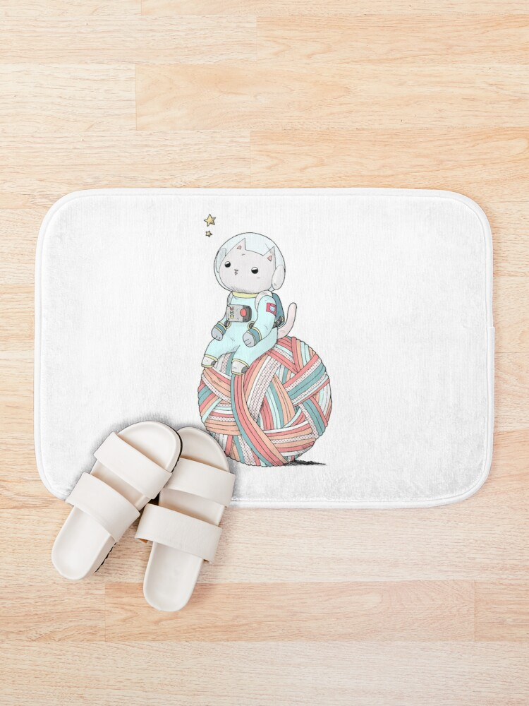 Alternate view of Space Cat on Planet Yarn Ball Bath Mat