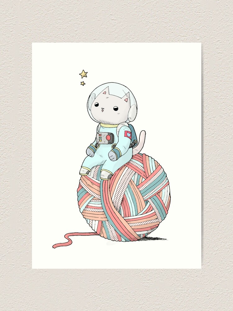 Alternate view of Space Cat on Planet Yarn Ball Art Print