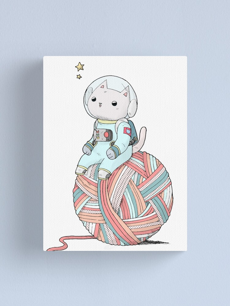 Alternate view of Space Cat on Planet Yarn Ball Canvas Print
