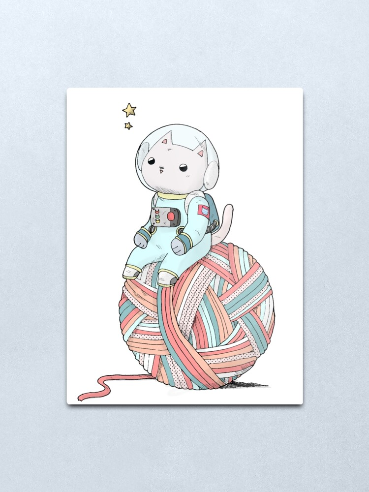 Alternate view of Space Cat on Planet Yarn Ball Metal Print