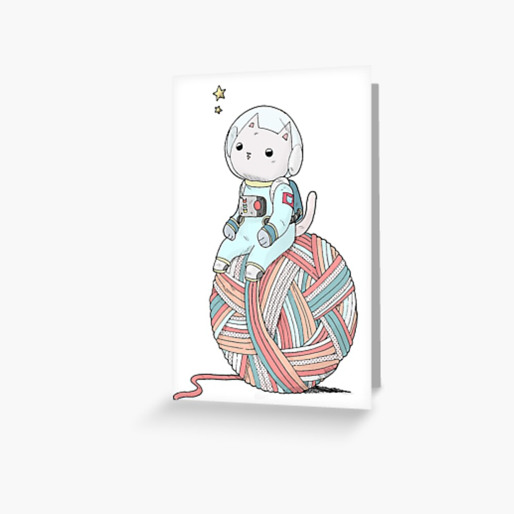 Space Cat on Planet Yarn Ball Greeting Card