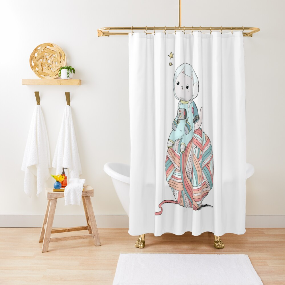 Space Cat on Planet Yarn Ball Shower Curtain