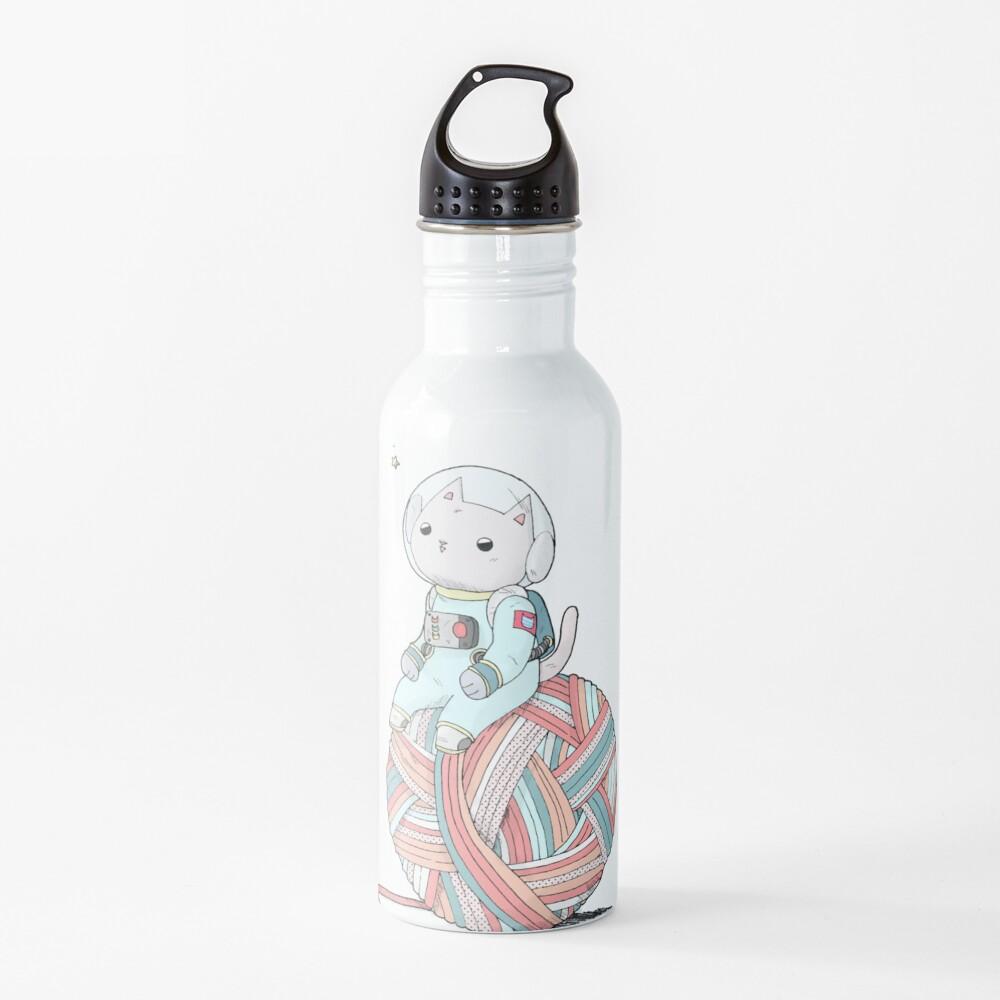 Space Cat on Planet Yarn Ball Water Bottle
