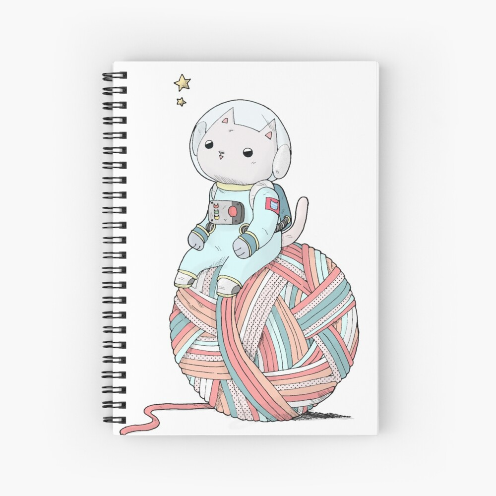 Space Cat on Planet Yarn Ball Spiral Notebook