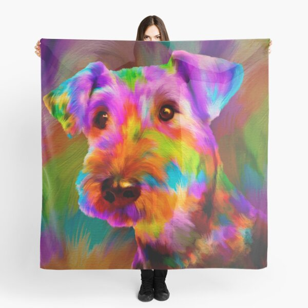 Colorful Airedale Terrier Portrait  Scarf