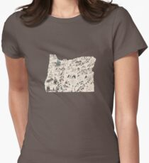 Oregon Vintage Picture Map Women's Fitted T-Shirt