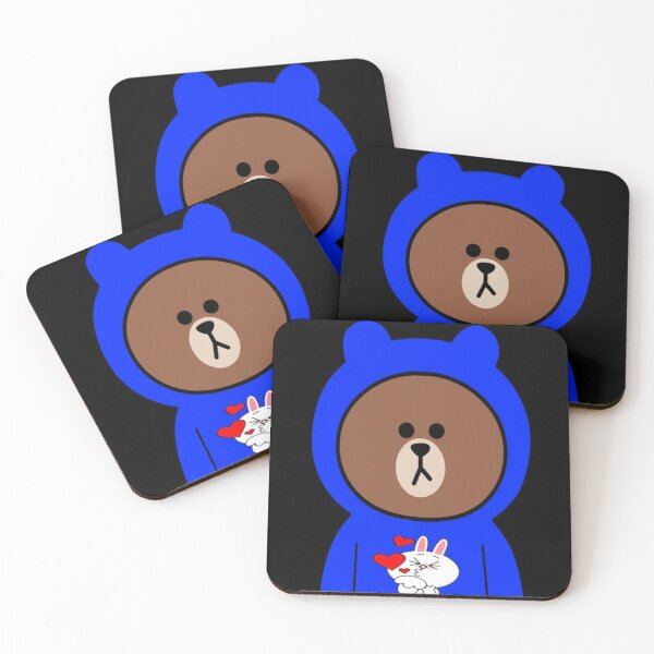 Brown bear cony bunny rabbit love & kisses Coasters (Set of 4)
