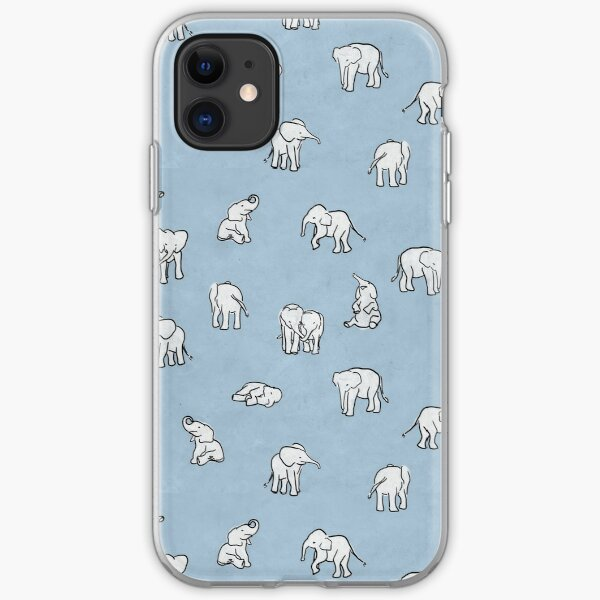 Indian Baby Elephants in Baby Blue iPhone Soft Case