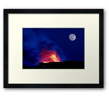Moon Over Kilauea Volcano at Kalapana  Framed Print