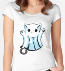 Cute Boo Ghost Cat Halloween Women's Fitted Scoop T-Shirt