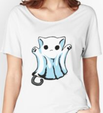 Cute Boo Ghost Cat Halloween Women's Relaxed Fit T-Shirt
