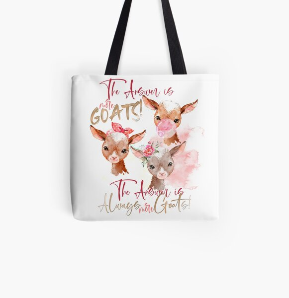 The Answer Is More Goats Watercolor  All Over Print Tote Bag