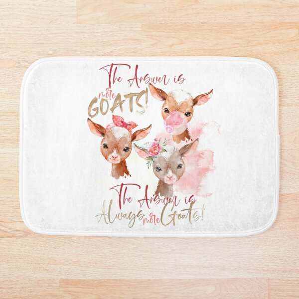 The Answer Is More Goats Watercolor  Bath Mat
