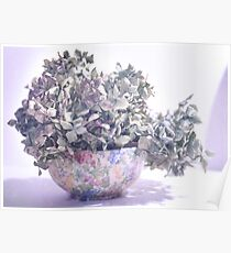 Flowered Bowl with Blue Hydrangea Poster