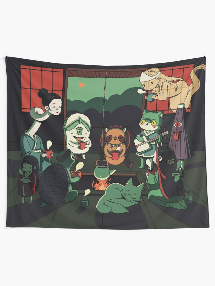 Alternate view of Yokai Tea Party Tapestry