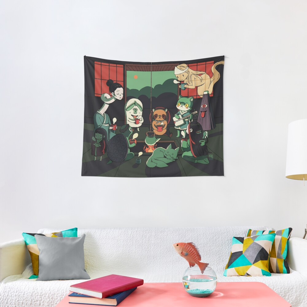 Yokai Tea Party Tapestry