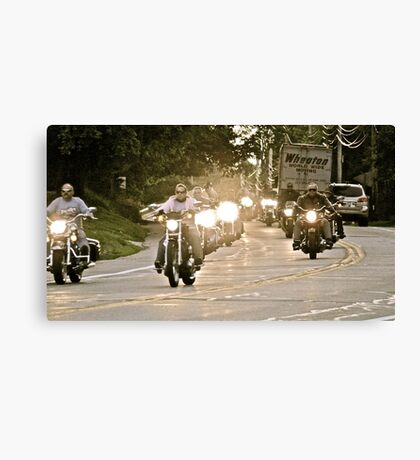 Bikers Head to College - How They Roll - Kingston - URI Canvas Print