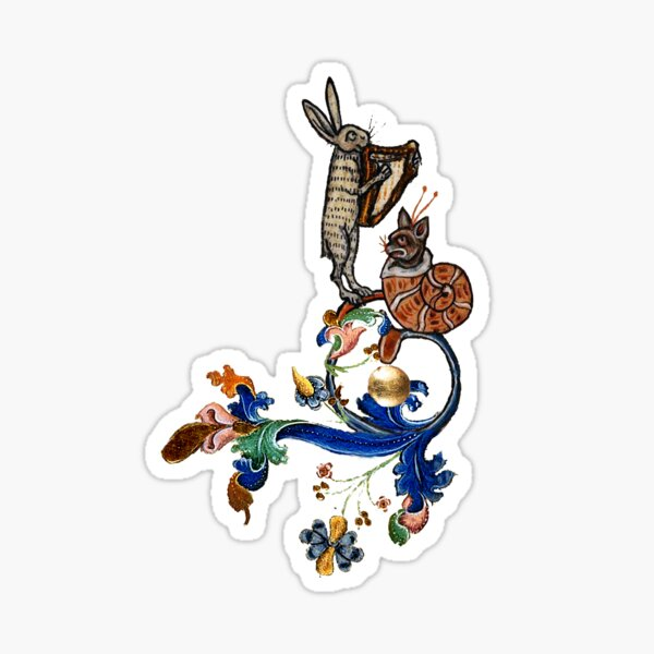 WEIRD MEDIEVAL BESTIARY MAKING MUSIC Harp Playing Hare And Snail Cat Sticker