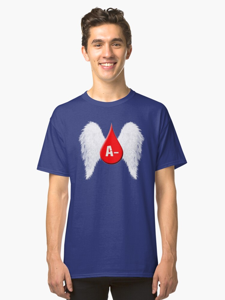 Alternate view of Blood Type A Negative - Angel Wings Classic T-Shirt