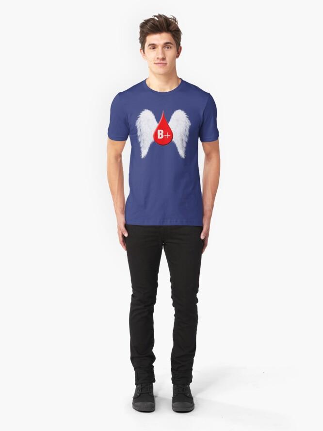 Alternate view of Blood Type B Positive - Angel Wings Slim Fit T-Shirt