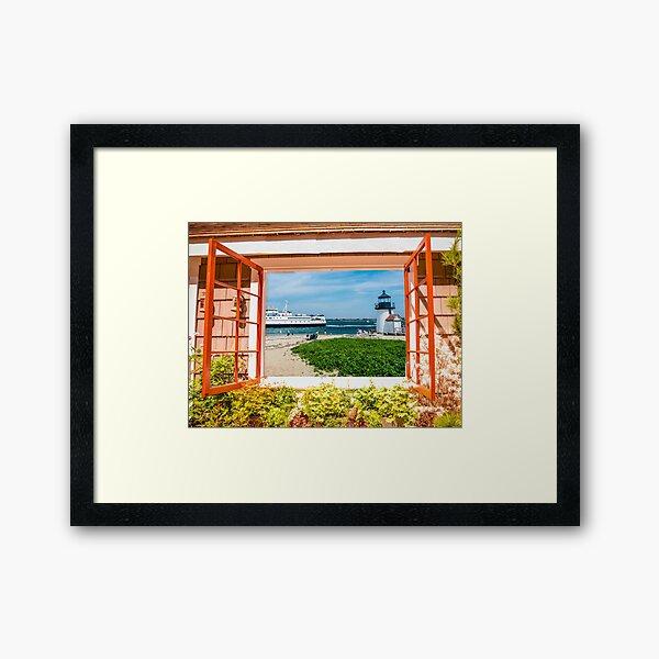 Brant Point Lighthouse Aerial Framed Nantucket Art Print