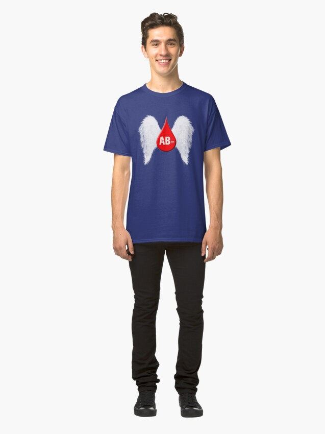 Alternate view of Blood Type AB Negative - Angel Wings Classic T-Shirt