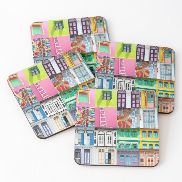 Singapore Shophouses Coasters (Set of 4)