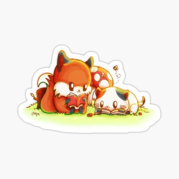 Bookish Fox and Cat Friends Sticker