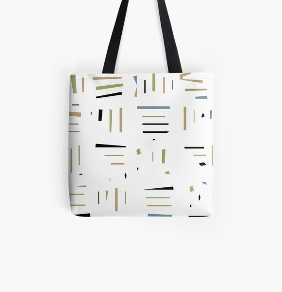 Line Pattern All Over Print Tote Bag