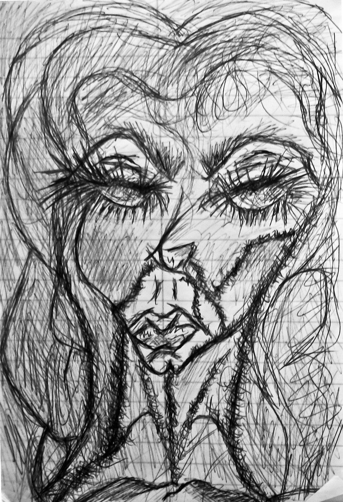 Self Portait 08...Drawing Day by C. Rodriguez