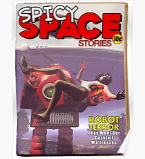 Spicy Space Stories Fake Pulp Cover Poster