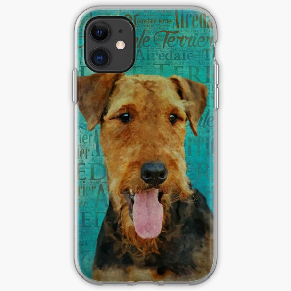 Airedale Terrier Portrait on Word Art iPhone Soft Case