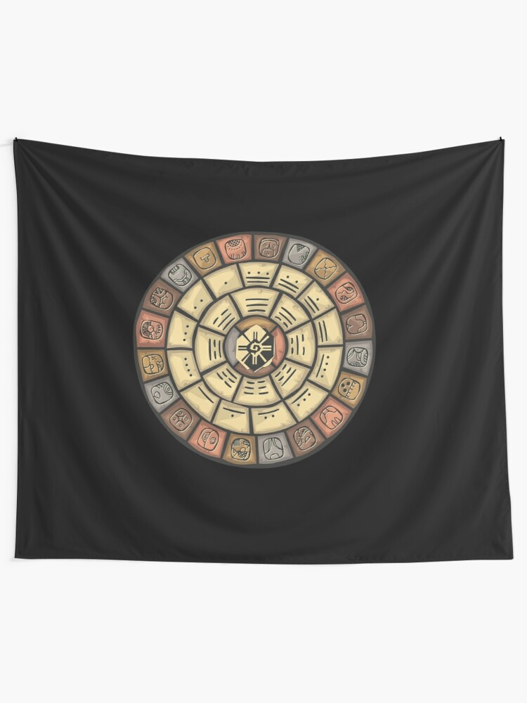 Tiger Shower Curtain Ancient Mayan Calender Print for Bathroom