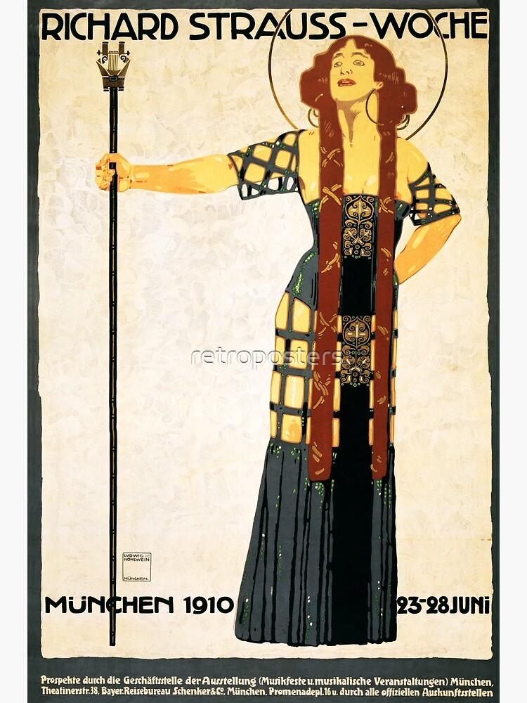 RICHARD STRAUSS-WOCHE Munchen 1910 by Ludwig Hohlwein Vintage Theater Art by retroposters
