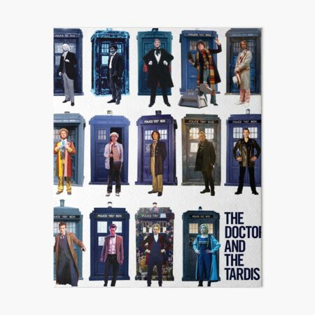 DOCTOR WHO and the TARDIS Fourteen Doctors POP ART Art Board Print