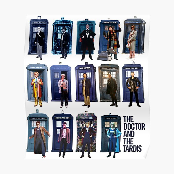 DOCTOR WHO and the TARDIS Fourteen Doctors POP ART Poster