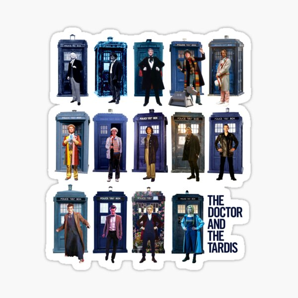 DOCTOR WHO and the TARDIS Fourteen Doctors POP ART Sticker