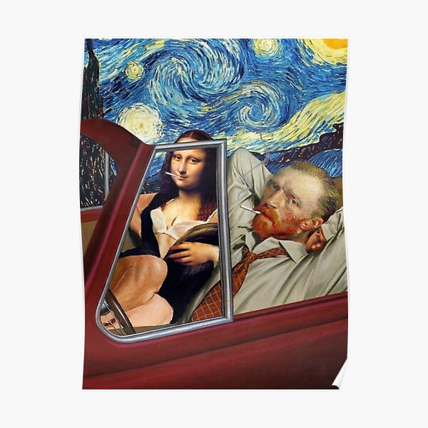 Mona Lisa and Van Gogh Poster