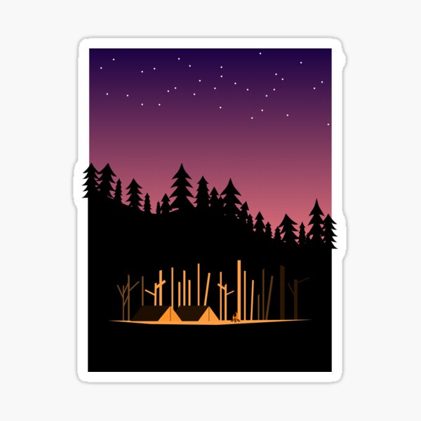 Camping Under the Stars in the Great Outdoors Sticker
